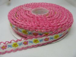 12mm 2m or Full Roll 10 metres Embroidered Scallop Edge Flower Ribbon moonstitch